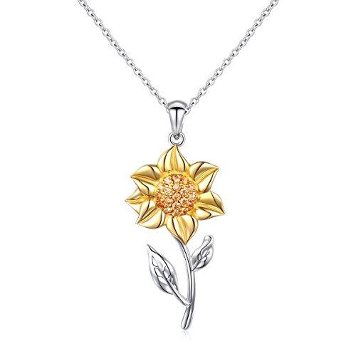 s Geschenk für sie Frauen Schmuck Set S925 Sterling Silber Sonnenblume Anhänger Halskette CZ Tanzen Blume Inspirational Halskette Sunflower Einstellbar Necklace ()