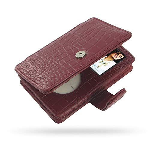 PDair Handarbeit Leder Hülle - Leather Book Case for Apple New iPod Classic 2nd (120GB/160GB) (Red Crocodile Pattern)