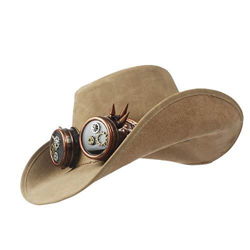 10 Stil Leder männer Western Cowboy Hut für Papa Gentleman Sombrero Hombre Jazz caps größe 58-59 cm Hut (Farbe : 58-59cm, Größe : 7)