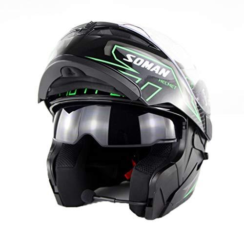 Adulto Bluetooth doppio Lens casco del motociclo costruito in lense flip up moto Hemets moto Caps per Mountain Motocross Racing