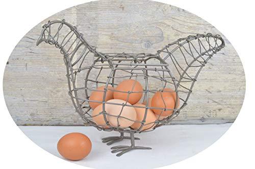 Schmiedegarten Metall Huhn im Landhaus Style Eier-Korb Aufbewahrungskorb für die Küche Deko Osternest