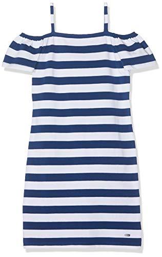 Mexx Mädchen Kleid, per Pack Blau (Navy Peony/White Striped 318328), 140 (Herstellergröße: 134-140) (Kinder Kleid Navy)