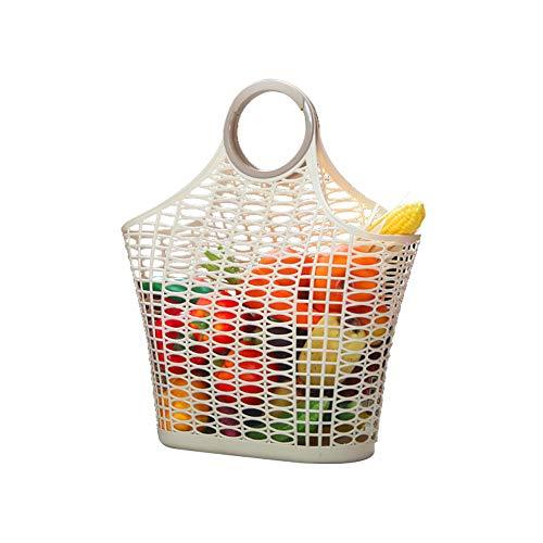 Usmascot Einkaufstüten, Wiederverwendbare Küchen-Ablagekorb, Einkaufstasche an Einkaufstasche, Einkaufstaschen aus Kunststoff, Langlebiger & Leichter Einkaufskorb für Obst und Gemüse (Beige, L) (Kunststoff-obst-anzeige)