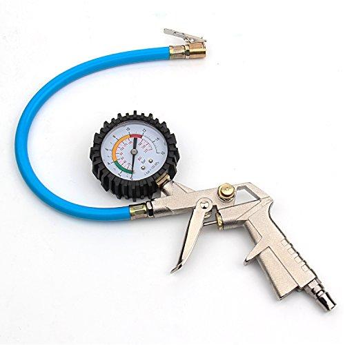 BoRui Reifenfüll Messgerät,Digitaler Luftdruckprüfer Manometer Schlauch Werkzeug Kompressor mit Pistolengriff für Chuck Cars Trucks