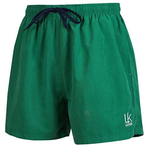 LK LEKUNI Schwimmhose Herren Badeshorts Badehose Boardshorts Bademode Kurze Sommer Schnelltrocknend Schwarz Vielfarbig Oeko-TEX 104(Lime Grün_3XL)