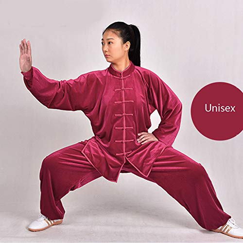 KOUYNHK Tai Chi Anzug Unisex,Chinoiserie Gold Velvet Shaolin Kampfkunst Wing Chun Lange Ärmel Atmungsaktiv Kostüm,Red-XXL (Red Wings Kostüm)