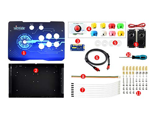 Waveshare Arcade-C-1P Accessory Pack Arcade Console Building Kit Designed for Raspberry Pi A+/B+/2B/3B/3B+ 1 Player Joystick Colorful Alloy Bottom Case Acrylic Panel Supports RetroPie Gaming System