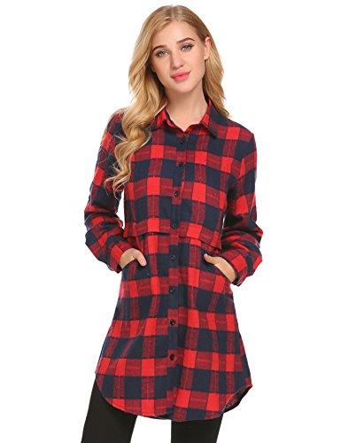 Unibelle Damen Kariertes Langarm Hemd Hemdkleid Langarmshirt Blusenkleid Oversize Cardigan Top Shirtkleid Karo Kleid 1-Rot