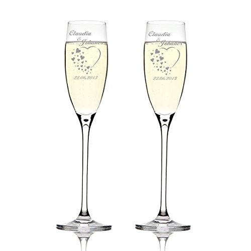Deux flûtes LEONARDO Cheers Gravure motif : Cœur avec de nombreux petits coeurs