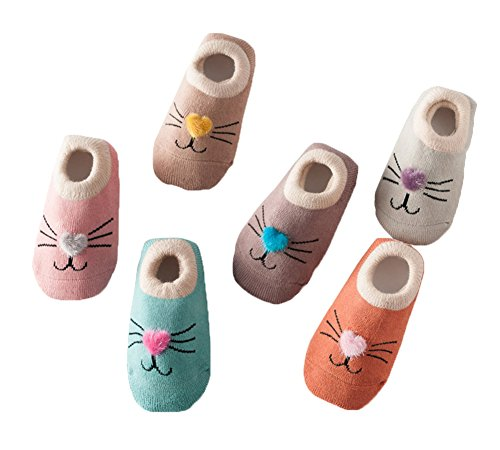 6 Paare Baby Antirutsch Socken Säugling Baby Jungen Mädchen Rutschfest Socken Kleinkind Dicke Baumwolle Niedlich Tier Socken