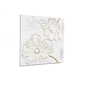 Tableau fleurs en 3D, acrylique sur toile, blanc gris beige, 80 x 80 cm