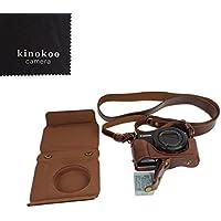 kinokoo PU funda de cuero de la cámara para Canon G7X II con gran correa de la caja(Café)