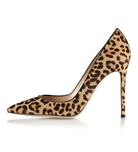 EDEFS Damen Leopard Animal Print Genuine Leder Pumps Spitz High Heels Kleid-Partei Pumps Leopard Größe EU39
