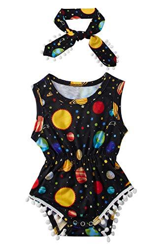 eveless Playsuit Jumpsuit für kleine Mädchen mit Buntem Druck Sommer Street Outfit Set für 12-24 Monate, Planet ()