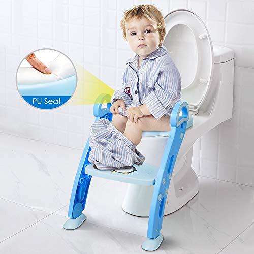 Amzdeal Réducteur de Toilette - avec Échelle Réglable Antidérapant, Siège de Toilette Pliable pour Enfant de 1-7 ans