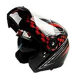 LL Motorrad-Helm Open Face Doppel-Objektiv Full Cover Helm Outdoor,3,XL