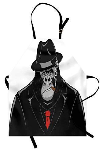 Gorilla-Schürze, beeindruckender Orang-Utan-Mafia-Gangster in einem schwarzen Anzug, eine Zigarre rauchend, Unisex-Küchenschürze mit verstellbarem Hals zum Kochen, Backen, Gartenarbeit, Schwarzgrau un (Männer Anzüge Mafia Für)