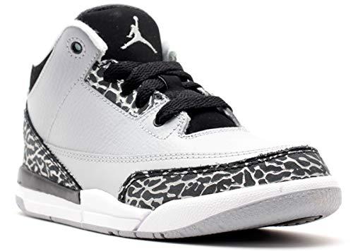 Nike Jungen Jordan 3 Retro BP Fitnessschuhe, Grau/Versilbert (Wolf Grey/Metallic Silver-Blk), 33 EU