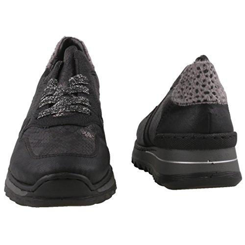 Rieker Femmes Chaussures à lacets noir, (schwarz/granit/schwa) M692000 schwarz/granit/schwa
