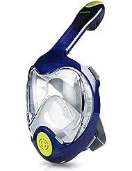 KUOKEL - Tauchmaske Vollgesicht Schnorchel Maske (mit 180 Grad Panorama, Anti-Fog Anti-Leck, mit Gopro Kamera Halterung, Taucherbrille für Erwachsene und Kinder)