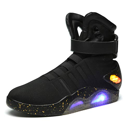 YAN Herren-Light-up-Schuh Casual Schuhe Magic Tape High-Top-Turnschuhe Leucht Schuhe Canvas Neuheit Schuhe Herbst & Winter New Black, Grey (Farbe : Schwarz, Größe : 42) (Canvas-tape)
