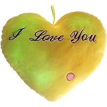 nalmatoionme con luz LED que emite hasta 7cambio de color corazón cojín peluche sofá respaldo almohada (amarillo)