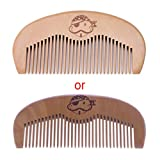 Brilcon Natural Peach Wood Comb Beard Fine Tooth Head Massage Anti-static Hair Care Tool 4.33x1.97x0.39 Inch