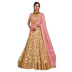Triveni Womens Net Lehanga Choli (TSSFNK5119 _Brown_ Free Size)