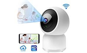 Telecamera Sorveglianza Wifi Interno IP Camera 1080P HD Wireless Videosorveglianza con Visione Notturna Rilevamento di Movimento e Audio Bidirezionale Elder/Pet/Baby monitor,Archiviazione in Cloud