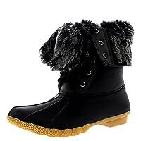 POLAR Womens Rubber Sole Deep Tread Winter Fold Down Cuff Snow Rain Boots
