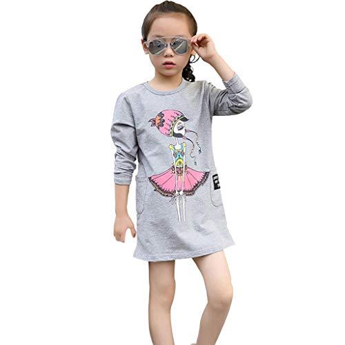 ABCone T-Shirt Vestiti da Principessa con Stampa A Fiori A Maniche Lunghe  Bambini A a4e60ddcb06