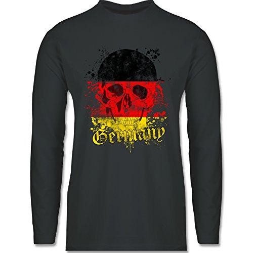 EM 2016 - Frankreich - Germany Schädel Vintage - Longsleeve / langärmeliges T-Shirt für Herren Anthrazit