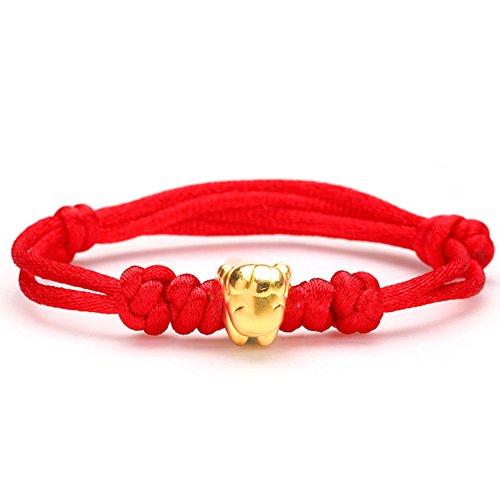 3DDuro oro braccialetto/ linea rossa perline di transito per uomini e donne-A