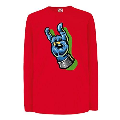 Camisetas de Manga Larga para Niño Zombie mano A Rock and Roll símbolo, signo de los cuernos, signo de metal (5-6 years Rojo Multicolor)