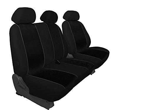 Preisvergleich Produktbild Für VW T6 - 1+2 maßgefertigter, modellspezifischer Sitzbezug Fahrersitz + 2er Beifahrersitzbank in VELOURS SCHWARZ