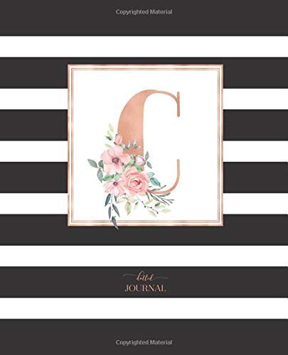 """Dotted Journal: Dotted Grid Bullet Notebook Journal Black and White Stripes Rose Gold Monogram Letter C (7.5"""" x 9.25"""") for Women Teens Girls and Kids por Cute Little Journals"""