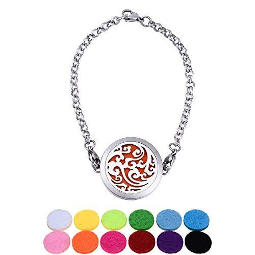 Blanc K Acier inoxydable verrouiller motif de nuages circulaires creux bracelet magnetique ouvert diffuseur aromatique 22cm-1
