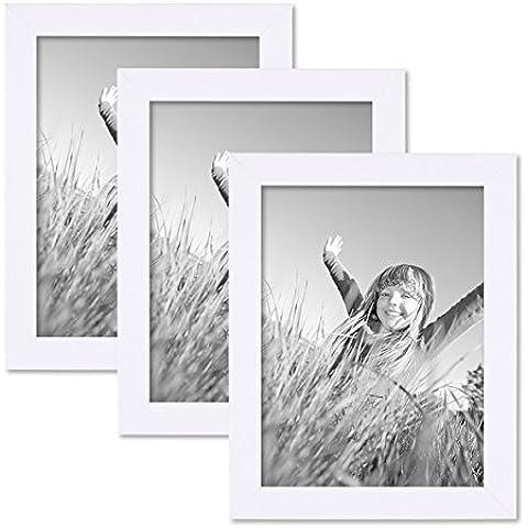 Juego de 3 marcos 15x20 cm blancos, modernos, madera maciza con cristal y accesorios / marco de fotos