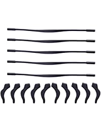 SUPVOX Silicone Eyewear Retainers Anti-slip Eyeglass Strap with 5 Pairs Ear Grip Hooks (Black)