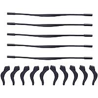 Preisvergleich für rosenice Stopper für Brille Silikon Rutschfest mit Armband für Brille mit 5Paar Haken für die Ohr (schwarz)