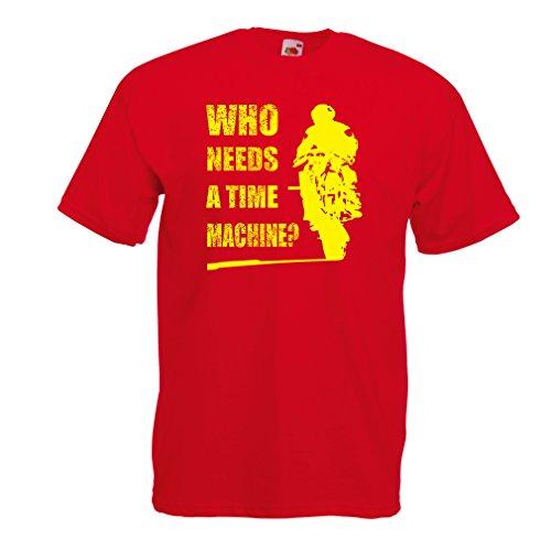 lepni.me T-Shirt da Uomo Abbigliamento Moto (Large Rosso Multicolore)