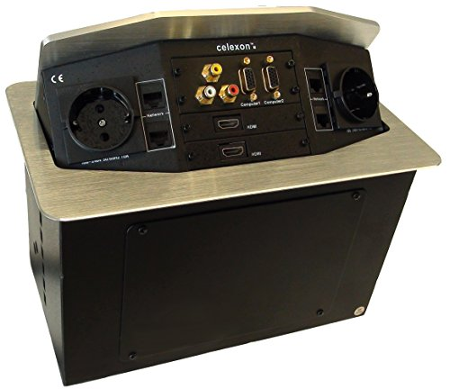 celexon Expert Tischanschlussfeld TA-300S, Ordnung auf und unter dem Konferenztisch, Internationale Steckdosenvariante