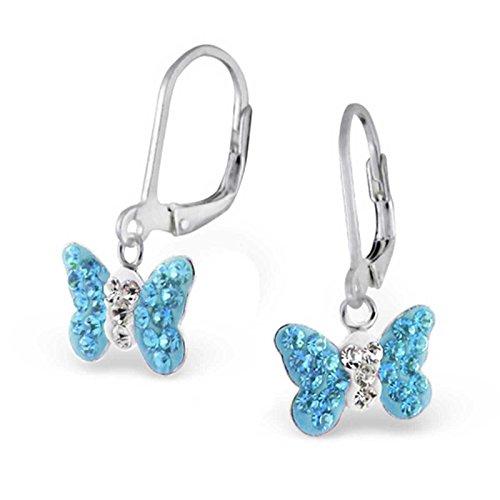 SL-Silver Ohrringe Kinderohrringe Kristall Schmetterling Aqua Klappverschluss 925 Silber