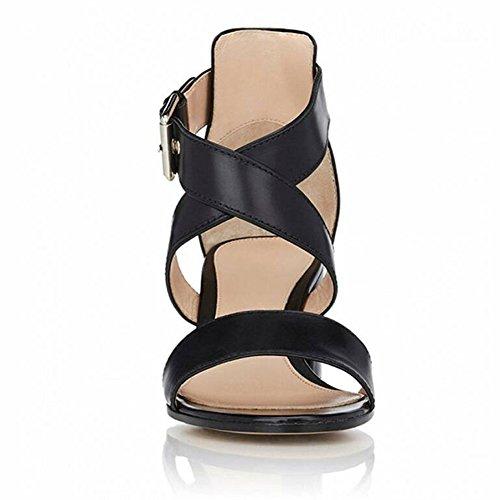 EDEFS Femmes Sandales Bout Ouvert Bloc Hauts Chaussures Boucle Fermeture Escarpins Noir