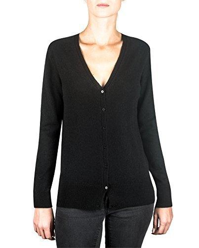 CASH-MERE.CH 100% Kaschmir Damen Pullover Cardigan V-Ausschnitt | Strickjacke V-Ausschnitt 2-fädig (Schwarz, S) -
