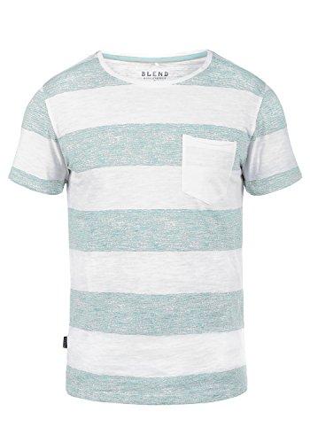 Blend Vegas Herren T-Shirt Kurzarm Shirt mit Streifen und Rundhalsausschnitt 100% Baumwolle, Größe:XXL, Farbe:Soft Blue (74641) (Tee V-neck Soft)
