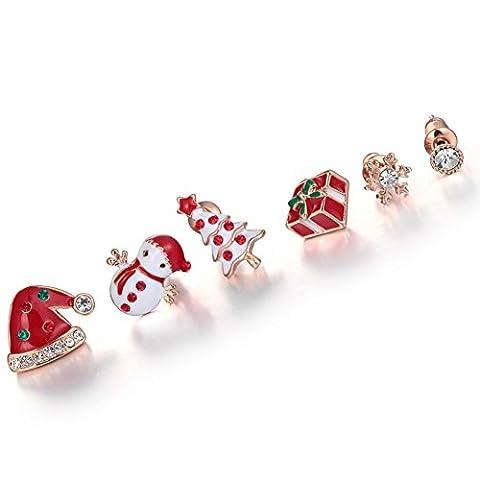 arbre de Noël Santa Hat Stud Earrings/ mode douce et belle6 oreille/Qualité hypoallergénique boucles