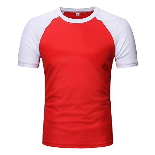 -Spleißspitze Männer Casual Patchwork O Hals Pullover Kurze T-Shirt Top Bluse (2XL, Rot) (Halloween Kurze Filme Für Kinder)