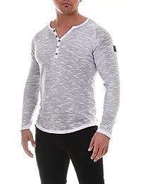 COEN BALE Herren T-Shirt Feinstrick Pullover Pulli Langarm Regular Fit  Rundhals mit Knopfleiste Meliert 3f5d81f1fa