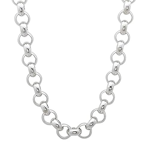 Solid 925 Sterling Silver 6mm Rolo Cable Link Italian Crafted Chain, 45 cm